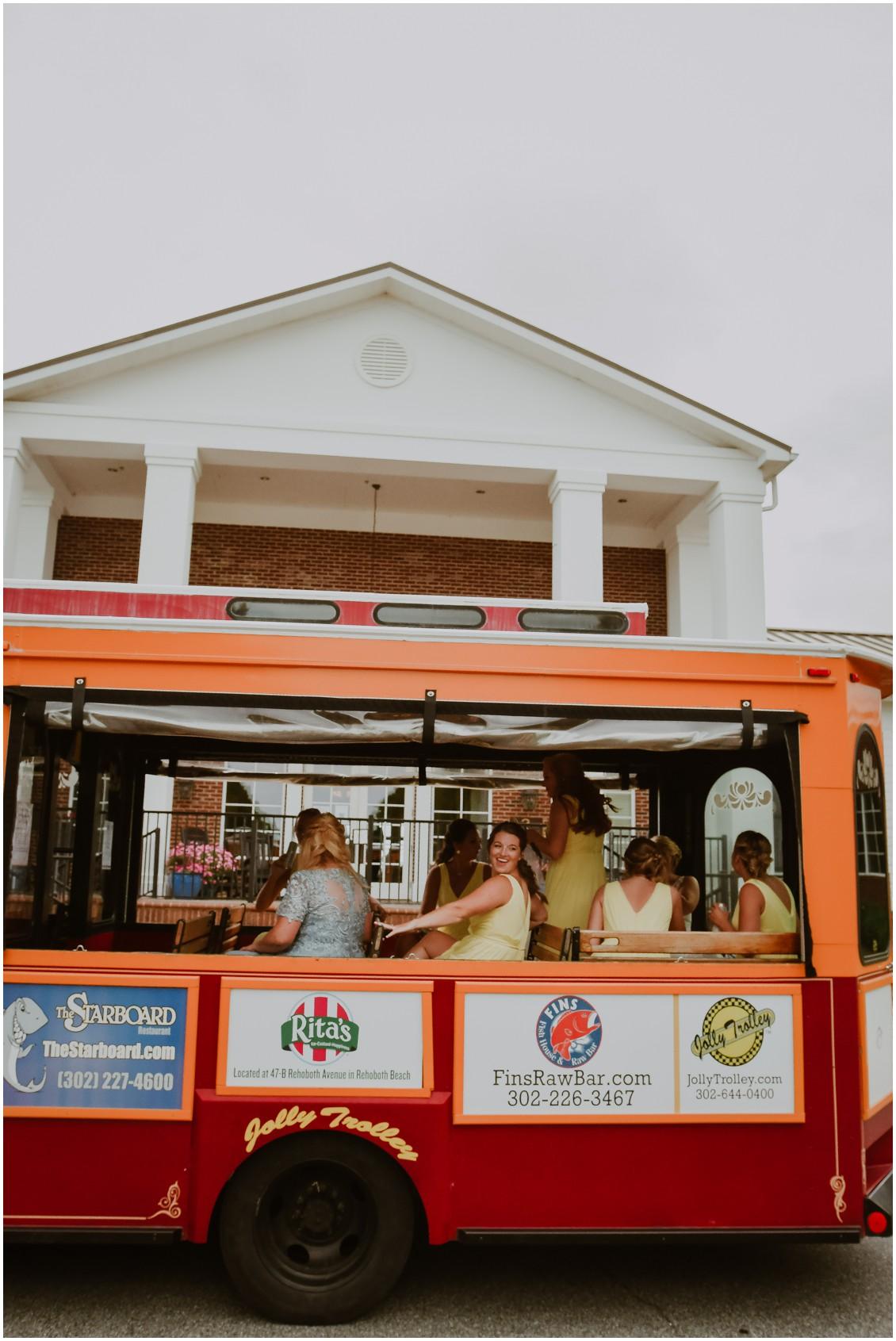Bridesmaids on Jolly Trolley | My Eastern Shore Wedding