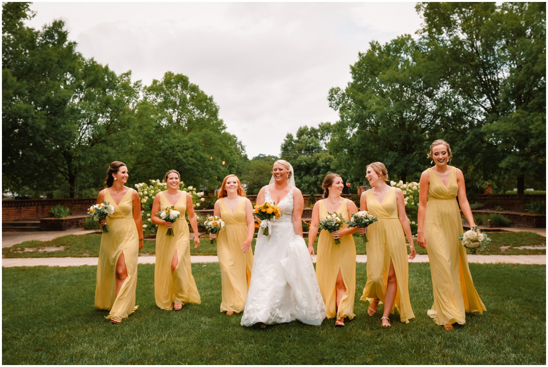 Bride and bridesmaids in yellow at sunny summer wedding | My Eastern Shore Wedding