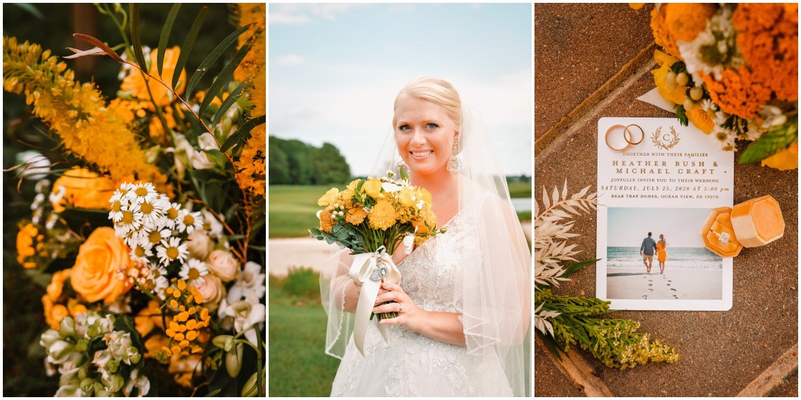 Bridal portrait and details at sunny summer wedding | My Eastern Shore Wedding
