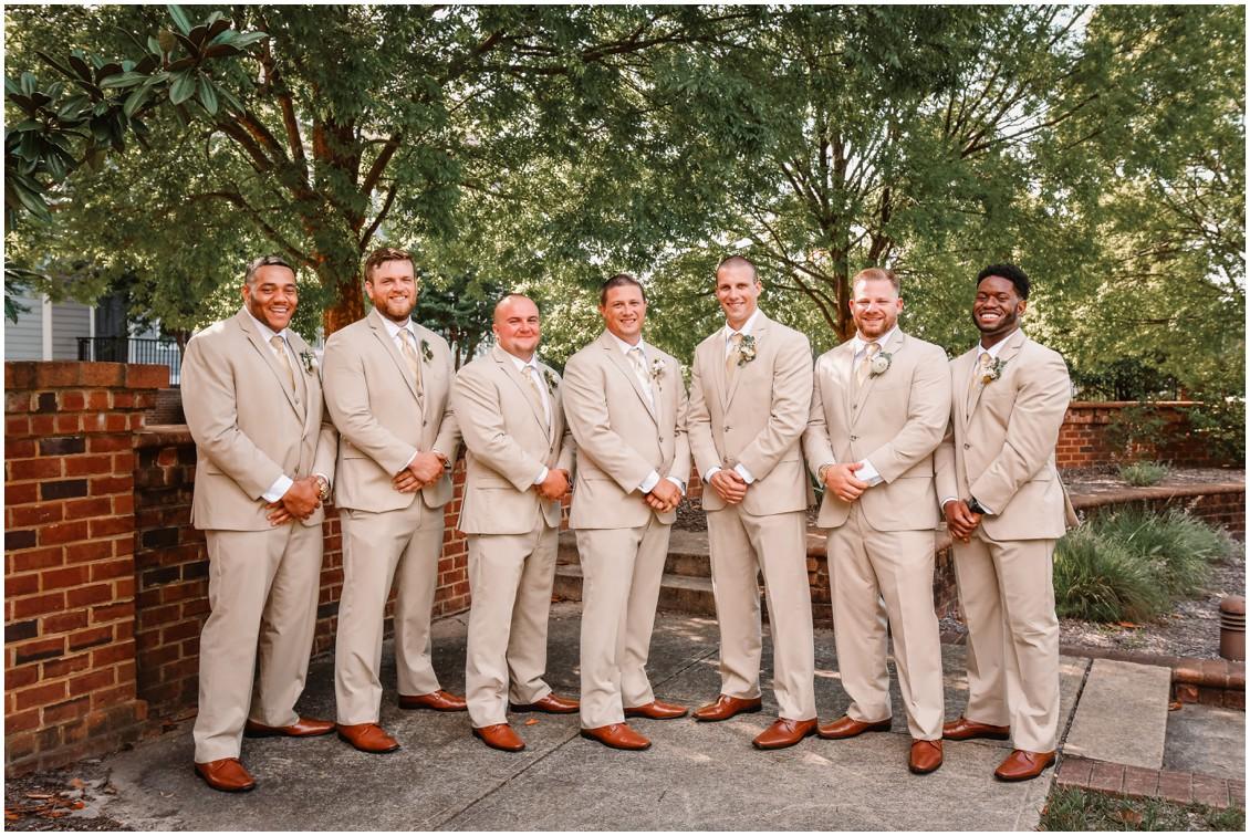 Groom and groomsmen in tan suits | My Eastern Shore Wedding