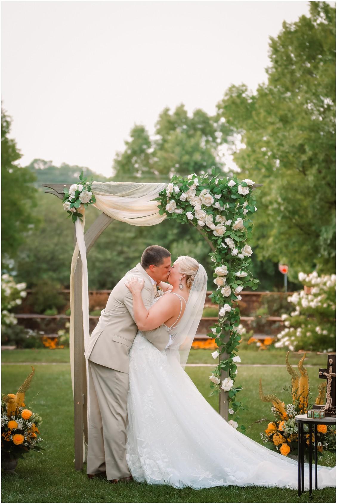 Bride and groom marriage ceremony sunny summer wedding | My Eastern Shore Wedding