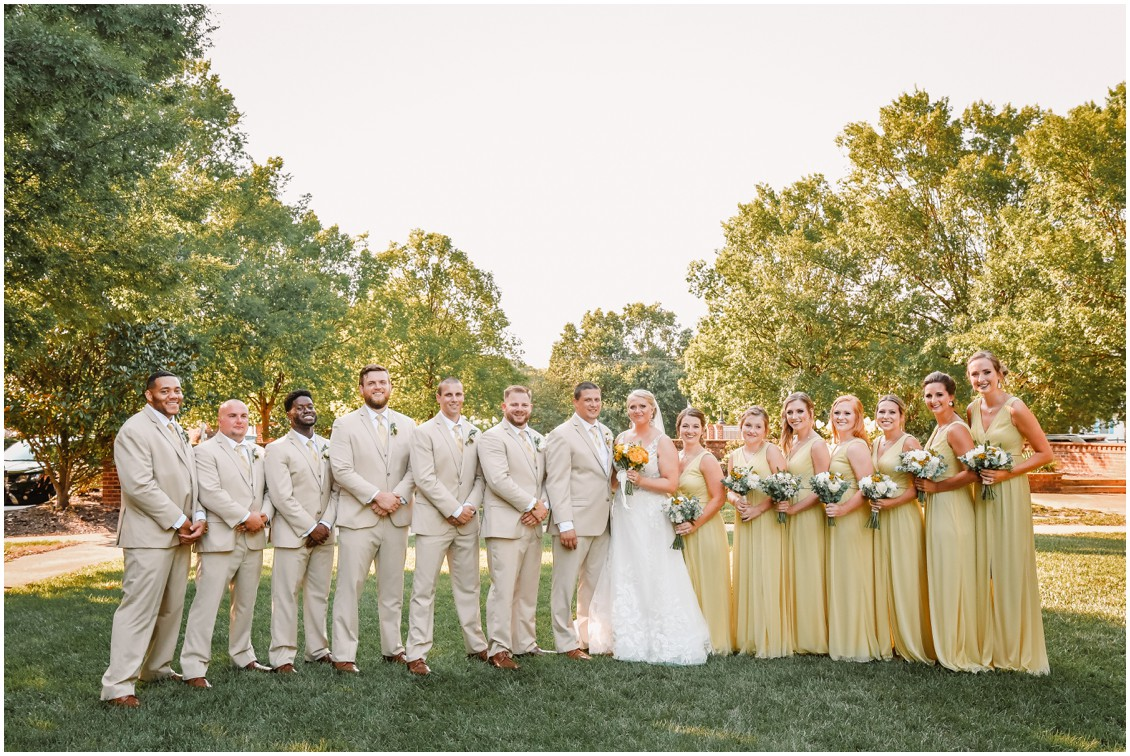 Bride and groom with bridal party sunny summer wedding | My Eastern Shore Wedding