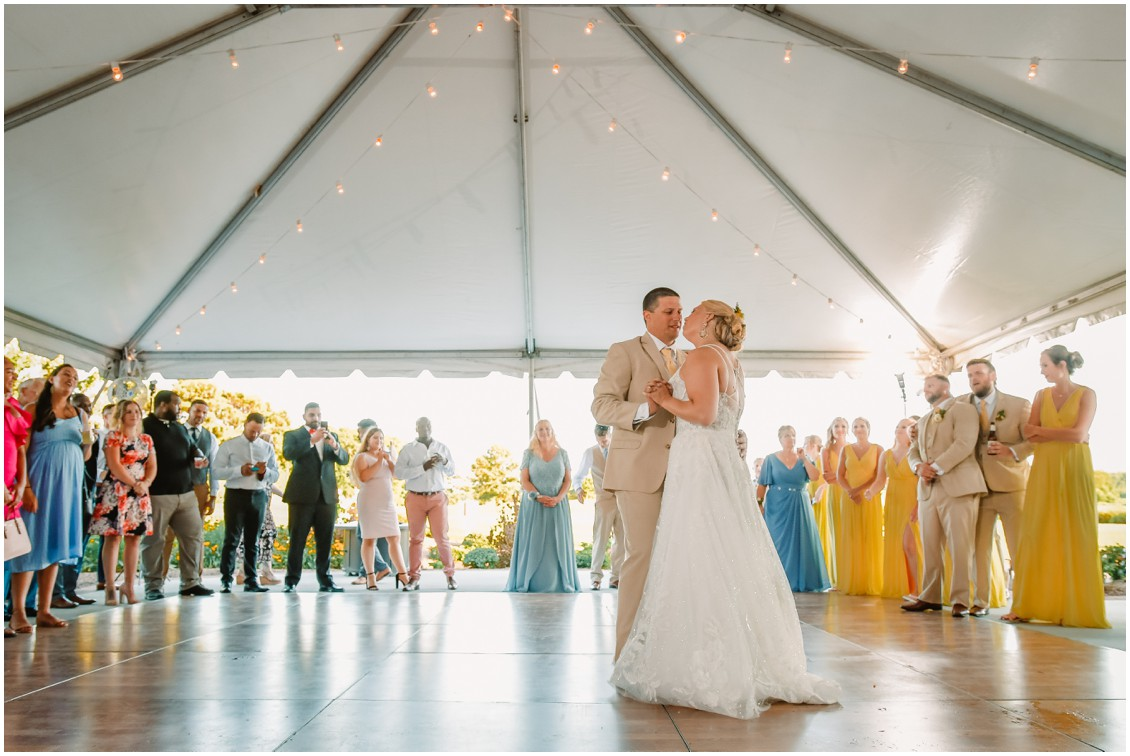 Bride and groom first dance sunny summer wedding | My Eastern Shore Wedding | Bear Trap Dunes | Coastal Tented Events