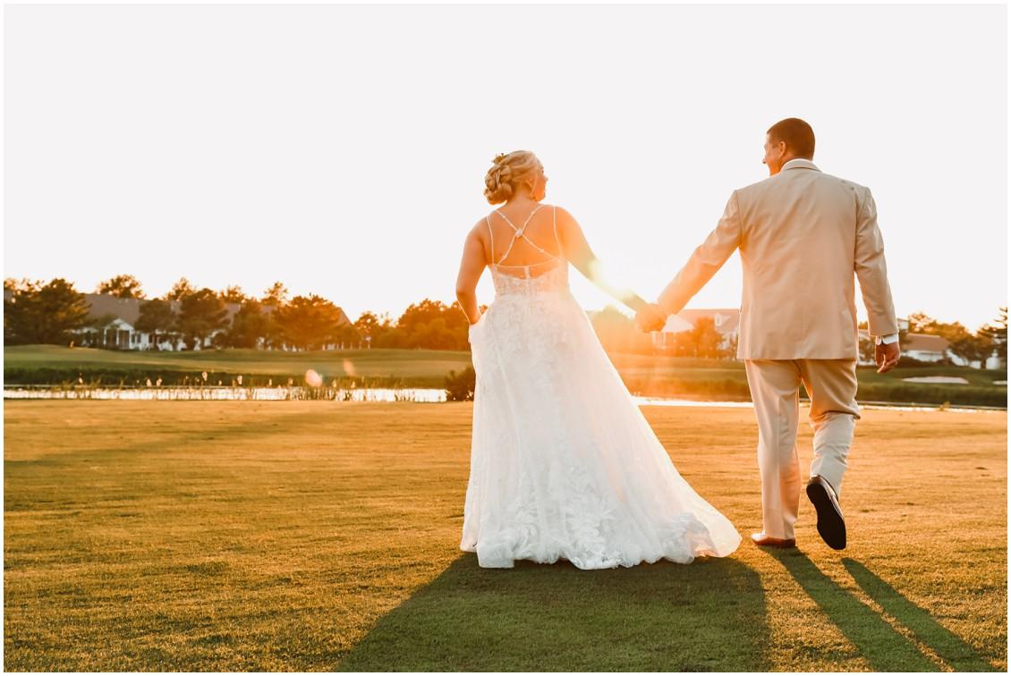 Bride and groom portrait on golf course sunny summer wedding | My Eastern Shore Wedding | Bear Trap Dunes