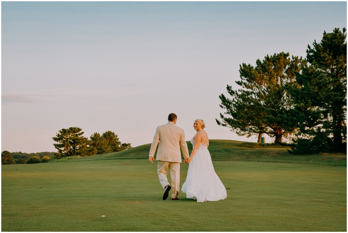 Bride and groom portraits on gold course sunny summer wedding | My Eastern Shore Wedding | Bear Trap Dunes | Coastal Tented Events