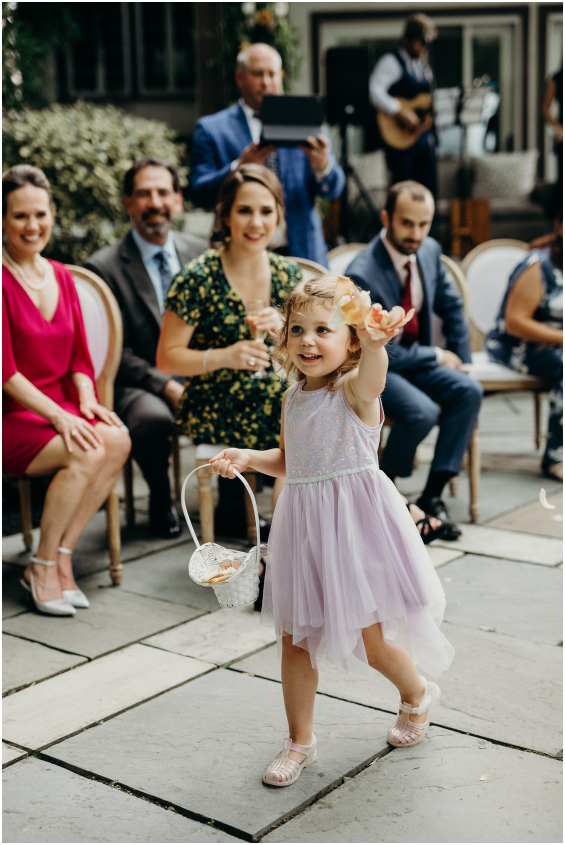 Flower girl throwing rose petals | My Eastern Shore Wedding | Sherwood Florist