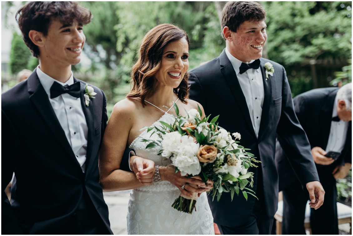 Bride with sons walking up aisle | My Eastern Shore Wedding | Sherwood Florist