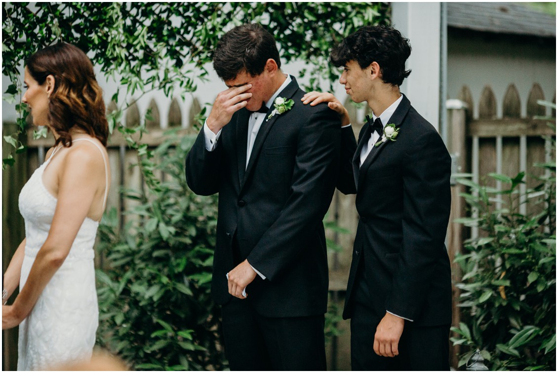 Bride's son crying during ceremony | My Eastern Shore Wedding | Sherwood Florist