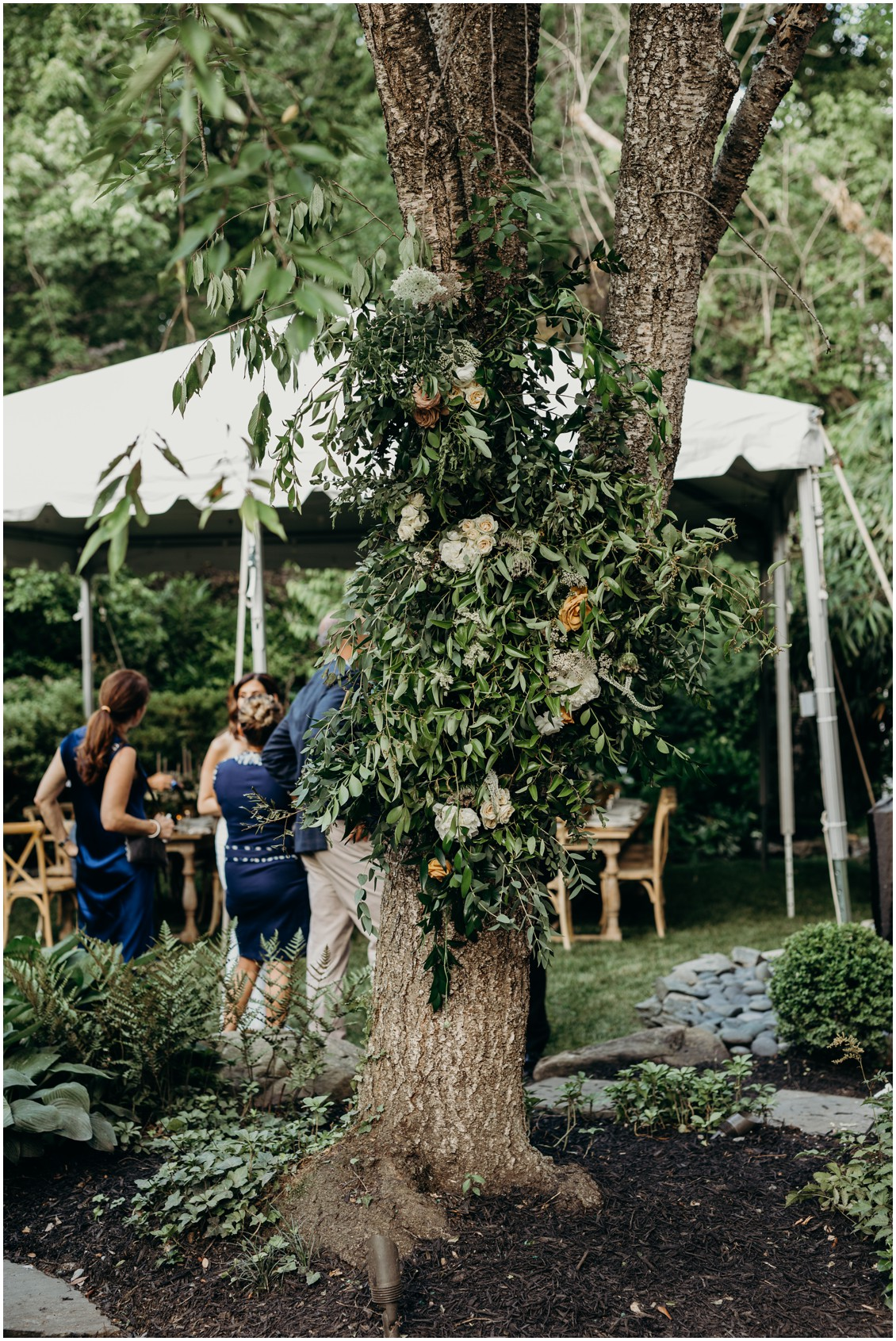 Details of floral decoration on tree  | My Eastern Shore Wedding | Sherwood Florist