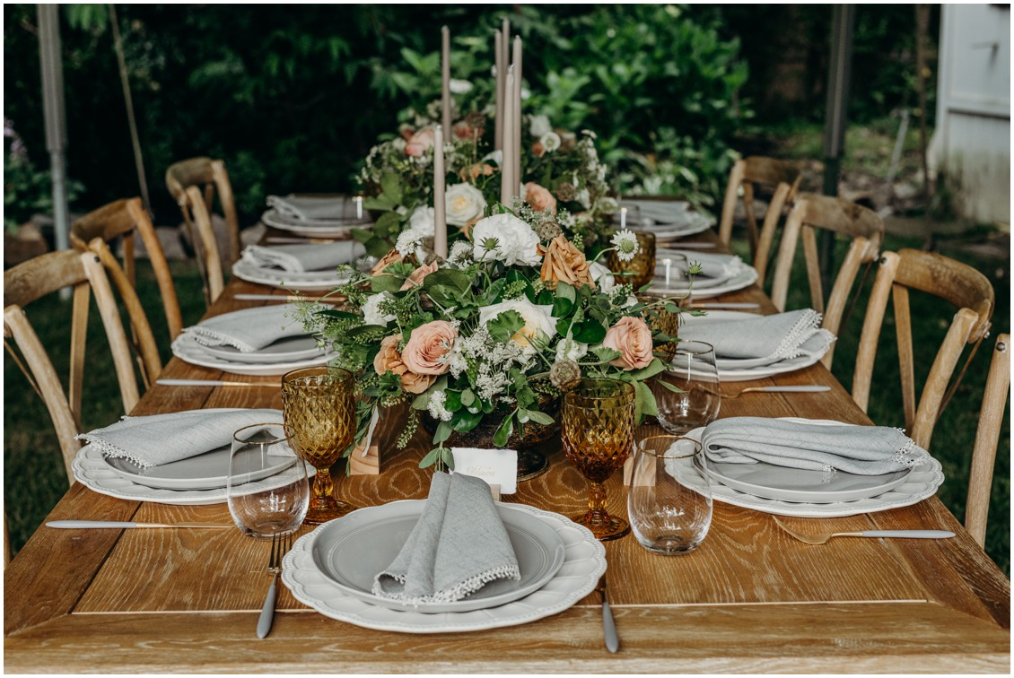 Details of floral decoration farm tables  | My Eastern Shore Wedding | Sherwood Florist