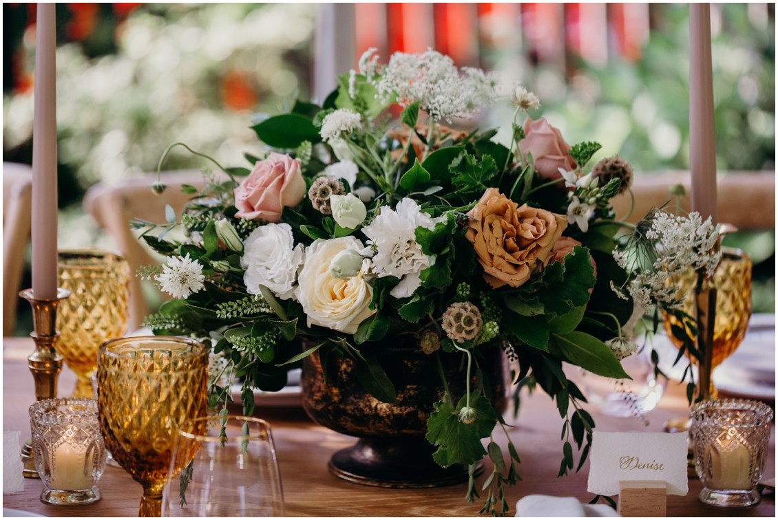 Details of floral decoration on bar  | My Eastern Shore Wedding | Sherwood Florist