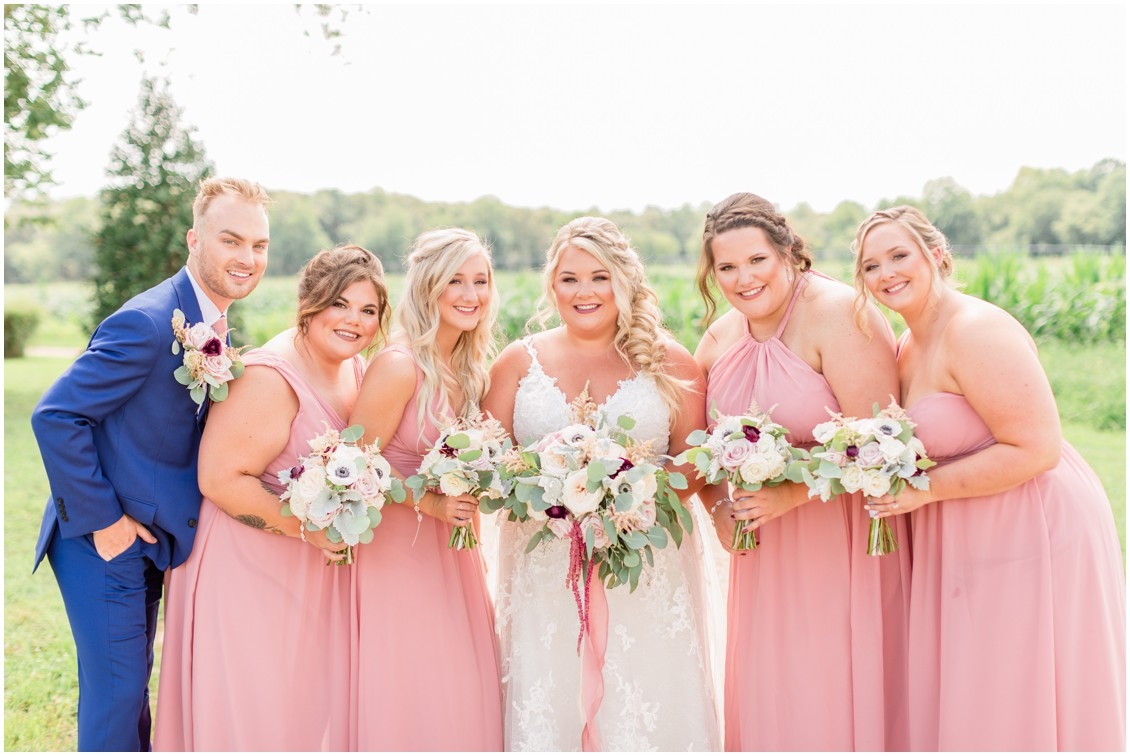 Bride and bridesmaids portraits, pink and blue barn wedding | My Eastern Shore Wedding | Cassidy Mister Photography | East Vintage Charm