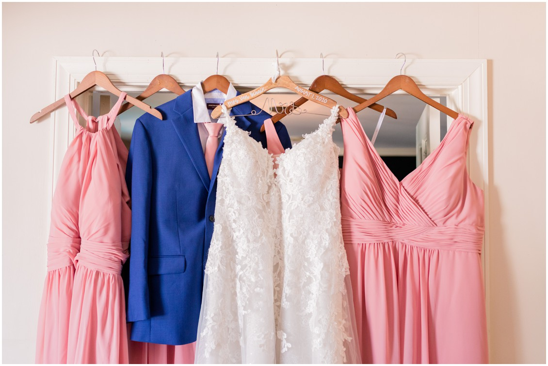 Bridal gown, pink bridesmaids, blue suits | My Eastern Shore Wedding | Cassidy Mister Photography