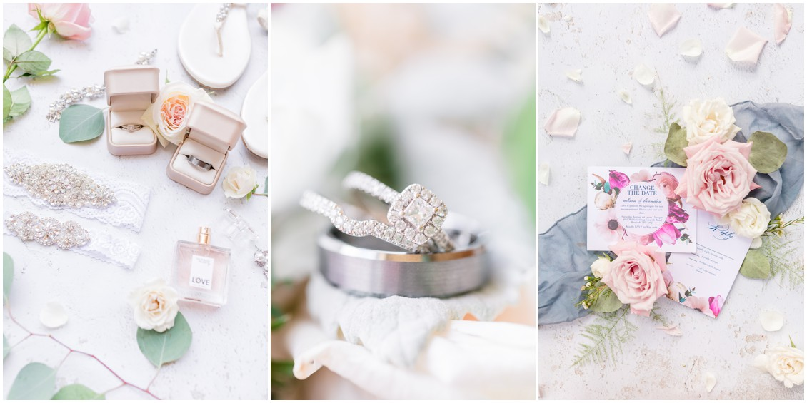 Bridal details, perfume, rings, stationery suite, pink and blue wedding   My Eastern Shore Wedding   Cassidy Mister Photography