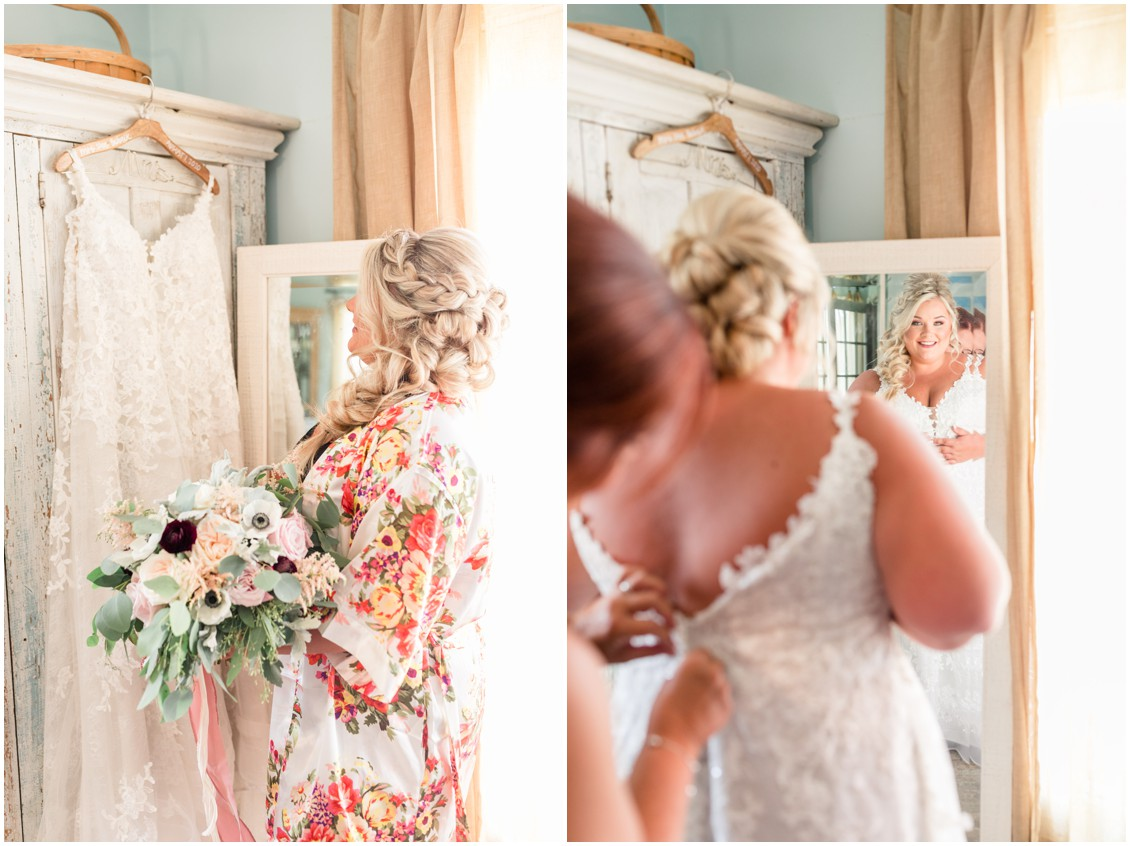Bride getting ready, pink and blue barn wedding | My Eastern Shore Wedding | Cassidy Mister Photography | East Vintage Charm