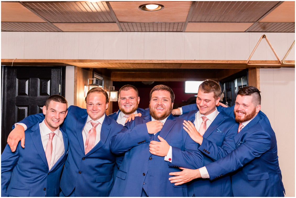 Groom and groomsmen portrait, pink and blue barn wedding   My Eastern Shore Wedding   Cassidy Mister Photography
