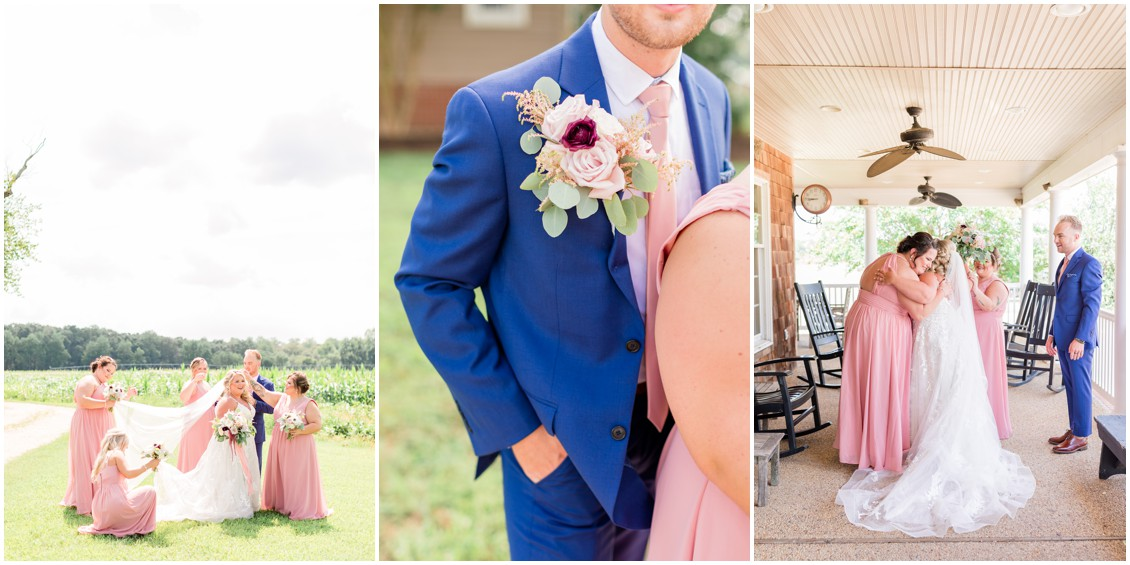 Bride and bridesmaids portraits, pink and blue barn wedding   My Eastern Shore Wedding   Cassidy Mister Photography   East Vintage Charm