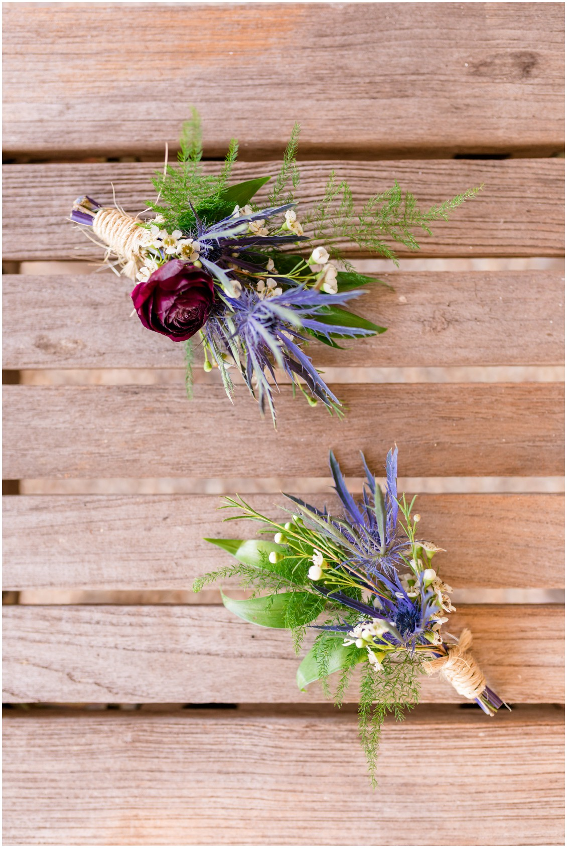 Boutonniere details, pink and blue barn wedding   My Eastern Shore Wedding   Cassidy Mister Photography   East Vintage Charm