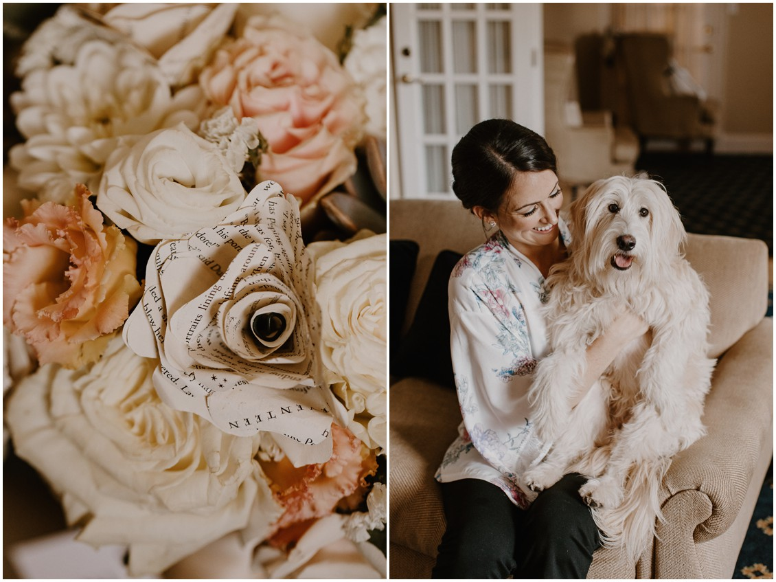 Detail of simple, stunning bridal bouquet, bride with beloved dog| My Eastern Shore Wedding | The Tidewater Inn | Seaberry Farms