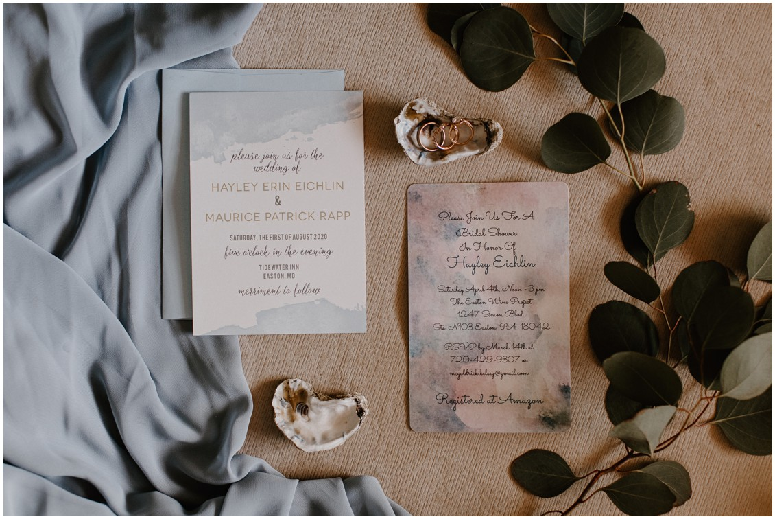 Detail of wedding stationery and oyster shells | My Eastern Shore Wedding | The Tidewater Inn