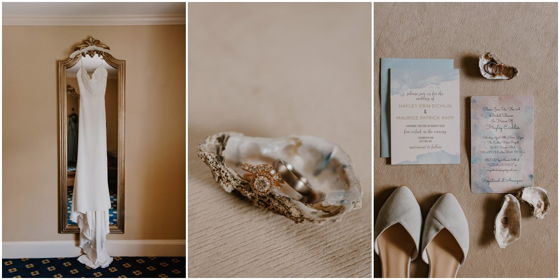 Simple, stunning bridal gown photo, detail of wedding rings in  oyster shells and simple wedding stationery| My Eastern Shore Wedding | The Tidewater Inn