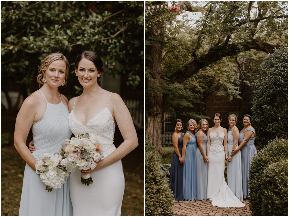 Bride in simple and stunning gown with bridesmaids in historic garden| My Eastern Shore Wedding |The Tidewater Inn
