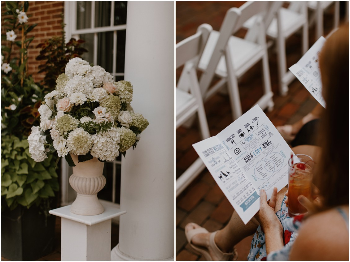 simply stunning floral arrangement and detail of ceremony program | My Eastern Shore Wedding | Seaberry Farms