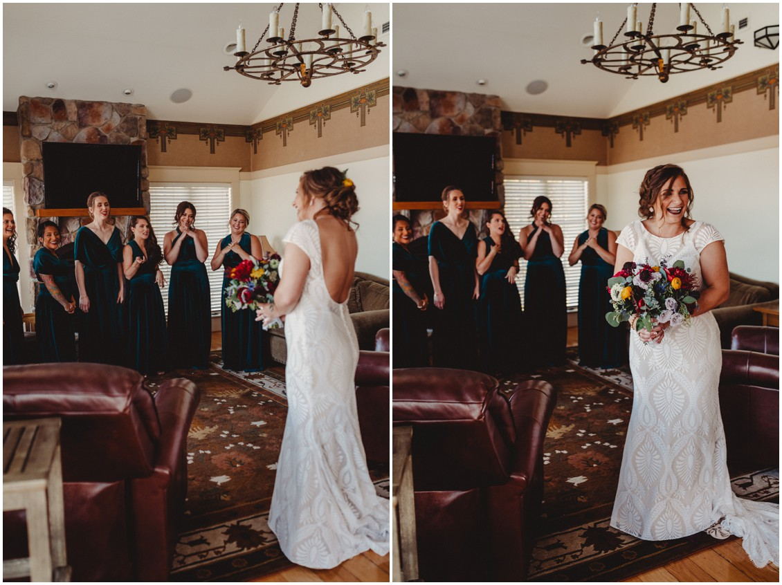 Bride with bridesmaids, first look | My Eastern Shore Wedding | Sherwood Florist