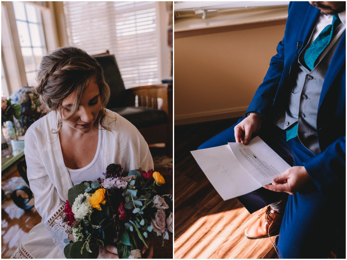 Bride with bold bouquet, groom reading note from bride| My Eastern Shore Wedding | Sherwood Florist