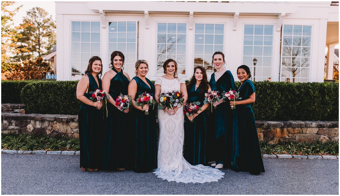 Bride with bridesmaids | My Eastern Shore Wedding | Sherwood Florist