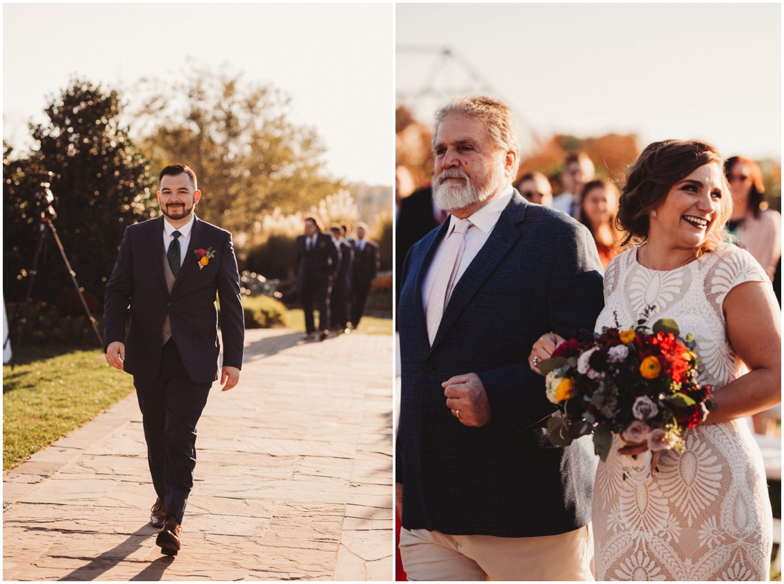Bride and groom walking to ceremony  | My Eastern Shore Wedding | Sherwood Florist