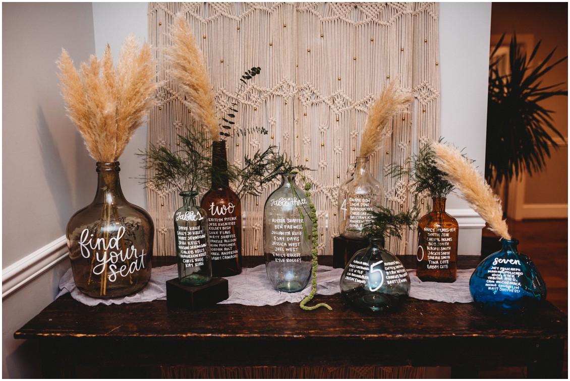 Seating plan boho chic macrame pampas grass | My Eastern Shore Wedding | Sherwood Florist