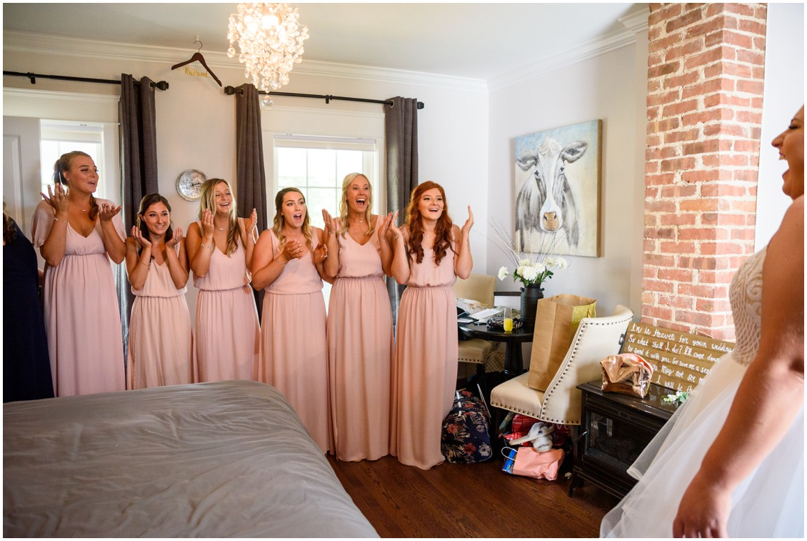 Bridesmaids in blush dresses first look with bride | My Eastern Shore Wedding | J Nicole Photography