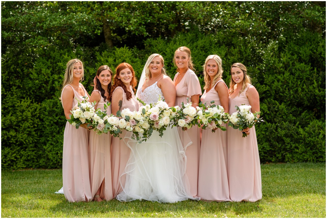 Bride with blush bridesmaids | My Eastern Shore Wedding | J Nicole Photography