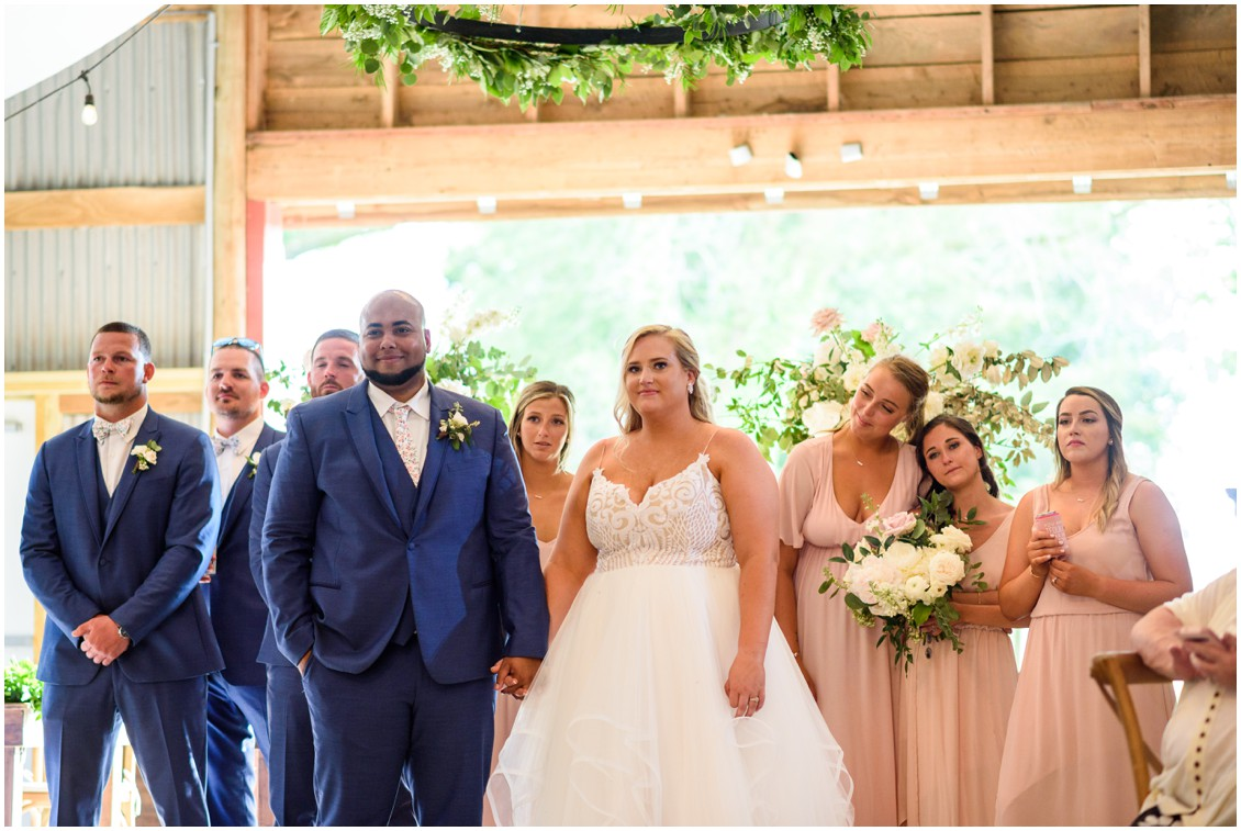 bride and groom with bridal party happily ever after | My Eastern Shore Wedding | J Nicole Photography