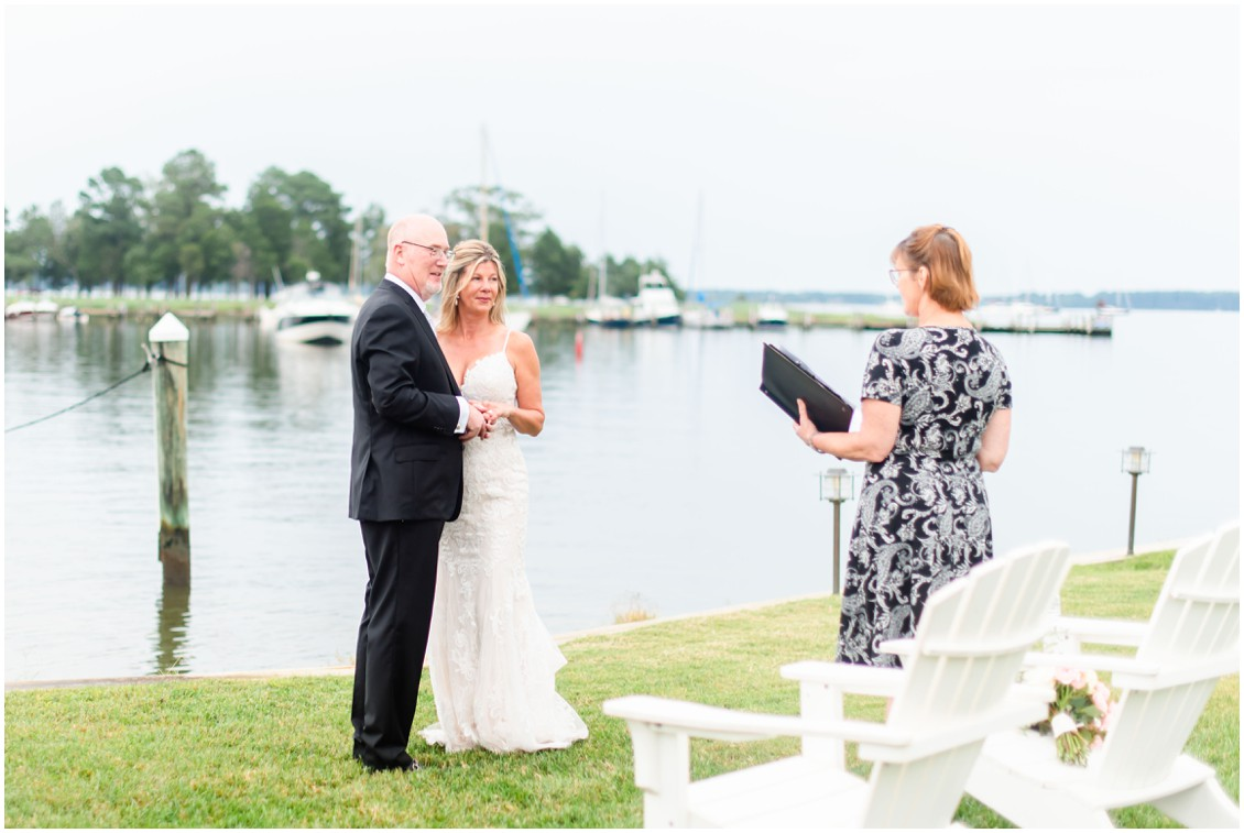 Bride and groom romantic elopement ceremony | My Eastern Shore Wedding | Alexandra Kent Photography | Chesapeake Blooms