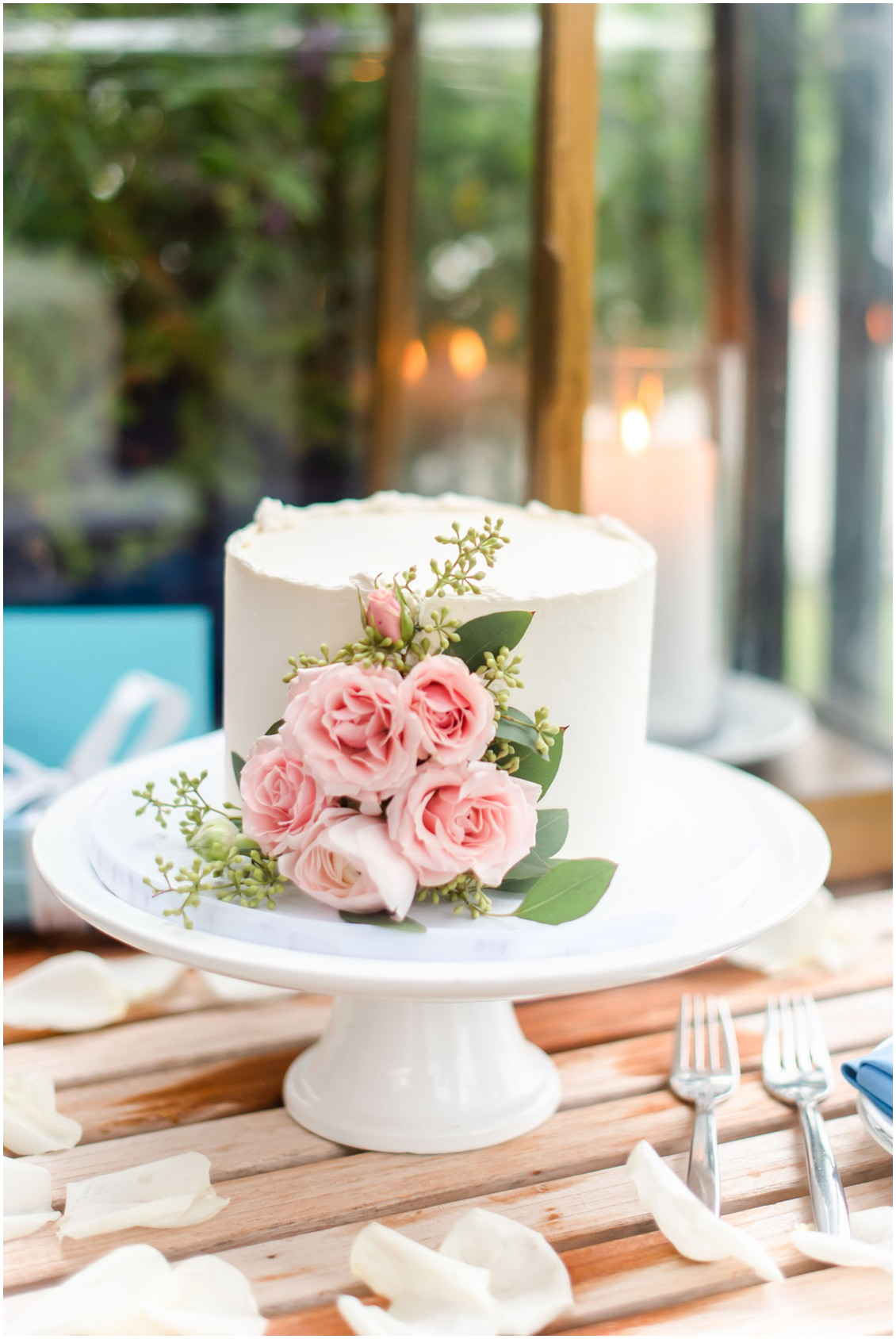 Cake for two romantic elopement| My Eastern Shore Wedding | Alexandra Kent Photography | Chesapeake Blooms | Steven Anthony Cakes