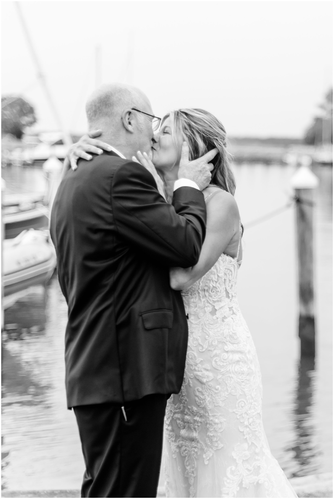 Bride and groom romantic elopement first kiss | My Eastern Shore Wedding | Alexandra Kent Photography | Chesapeake Blooms