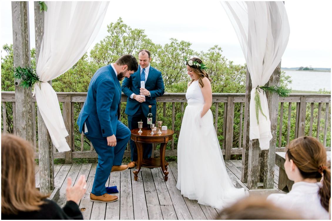 Groom stomping glass jewish wedding ceremony | My Eastern Shore Wedding | Erin Wheeler Photography | Bayside Resort Golf Club
