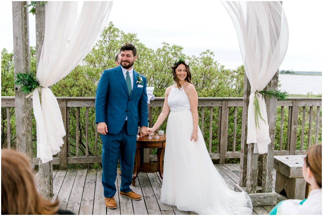 Bride and groom right after wedding ceremony  | My Eastern Shore Wedding | Erin Wheeler Photography | Bayside Resort Golf Club