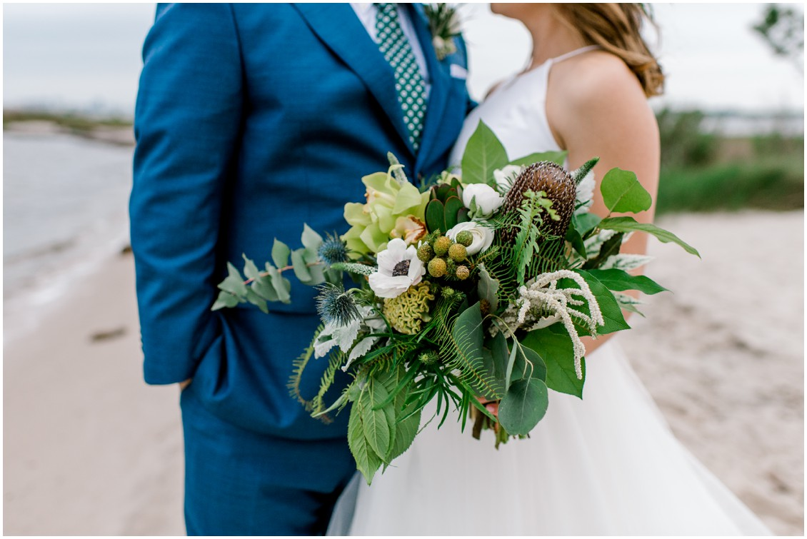 Bridal bouquet with ferns and natural elements | Naturally Beautiful Bayside Wedding | My Eastern Shore Wedding | Erin Wheeler Photography | Bayside Resort Golf Club