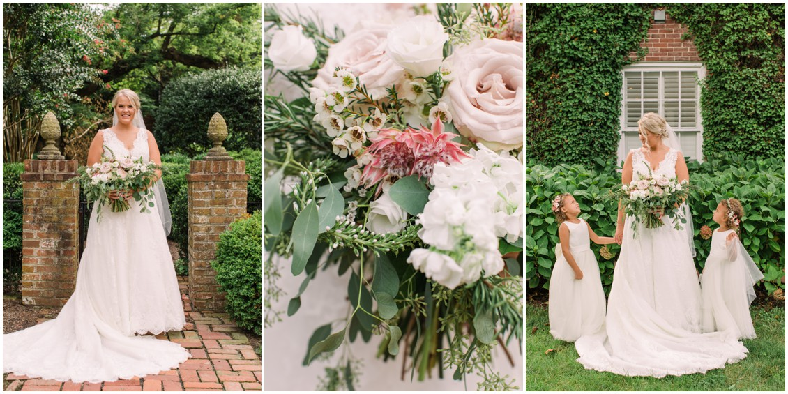 Bridal portraits blush flowers | My Eastern Shore Wedding | J Starr's Flower Barn | Laura's Focus Photography