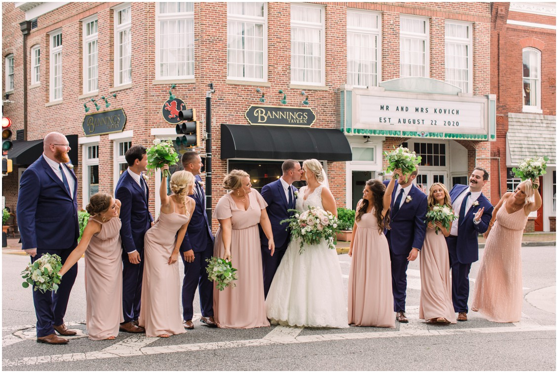 Bridal party in blush portrait in downtown Easton | My Eastern Shore Wedding | J. Starr's Flower Barn | Laura's Focus Photography
