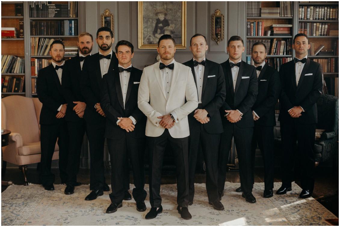 Groom with groomsmen getting ready classic lux wedding | My Eastern Shore Wedding