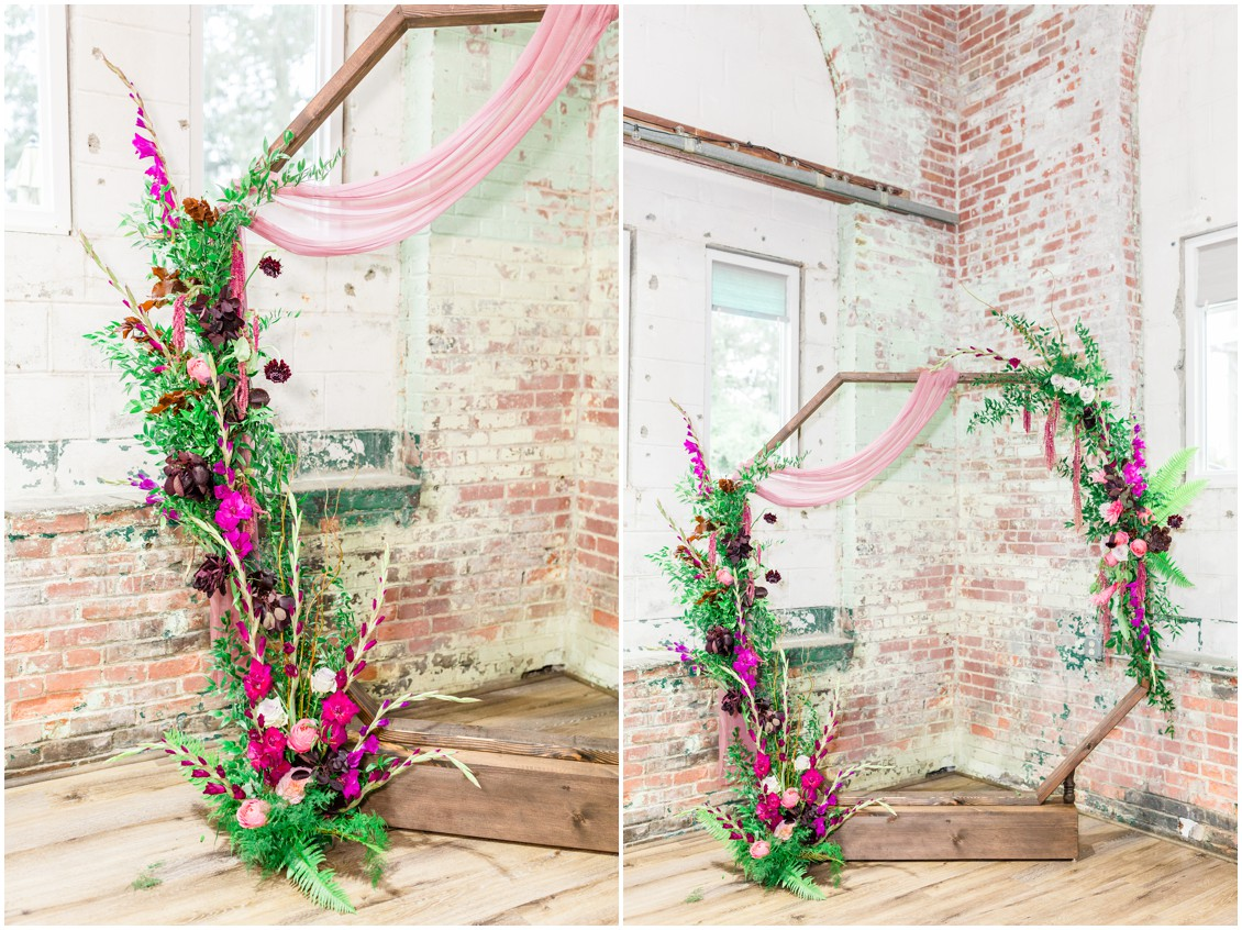 Past meets present geometric arch with floral detail| My Eastern Shore Wedding | Cassidy Mister Photography