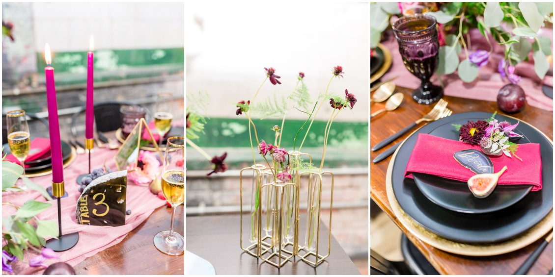Past meets present styled shoot modern tablescape details | My Eastern Shore Wedding | Cassidy Mister Photography