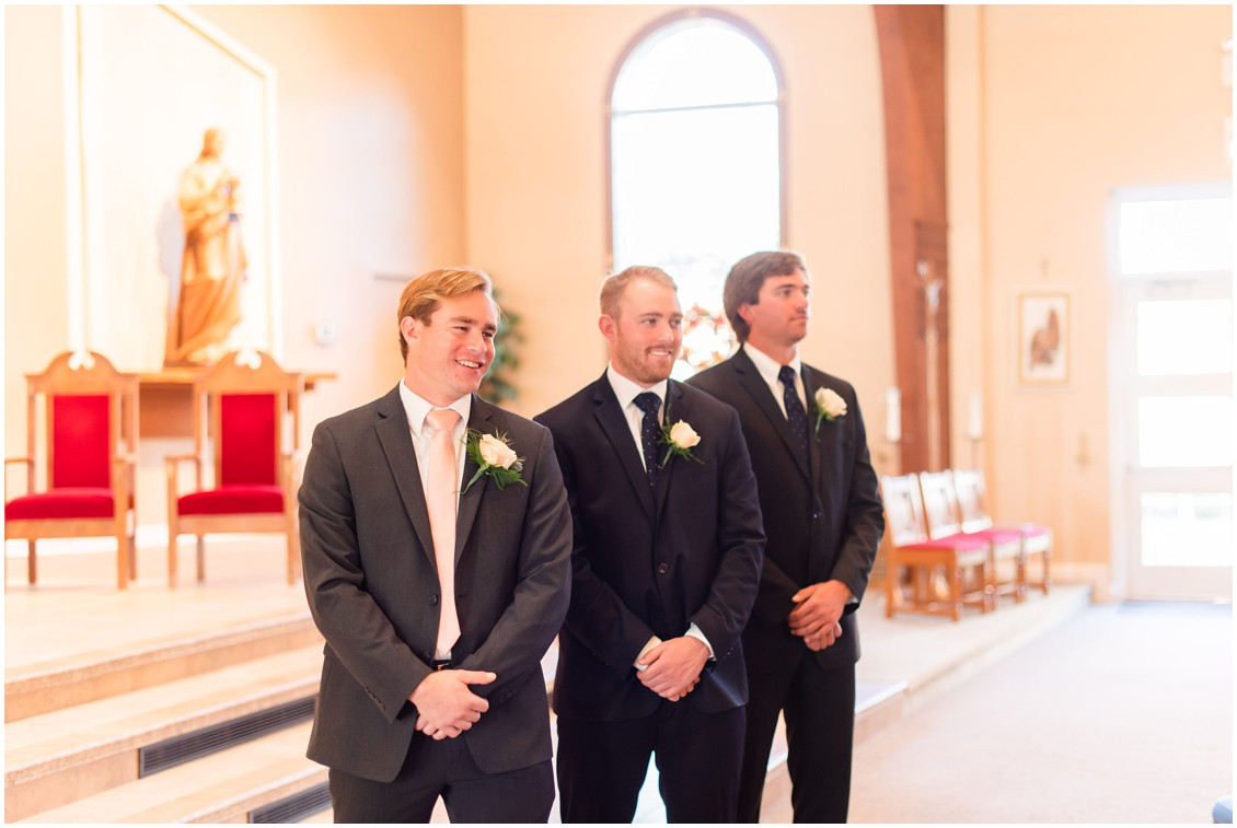 Groom watching bride come down aisle at microwedding | Love will find a way| My Eastern Shore Wedding | Alex Kent Photography