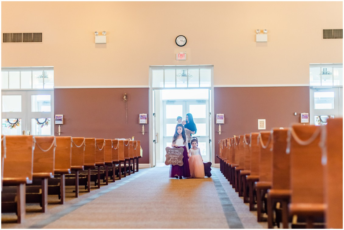Flower girls coming down aisle at microwedding | Love will find a way| My Eastern Shore Wedding | Alexandra Kent Photography