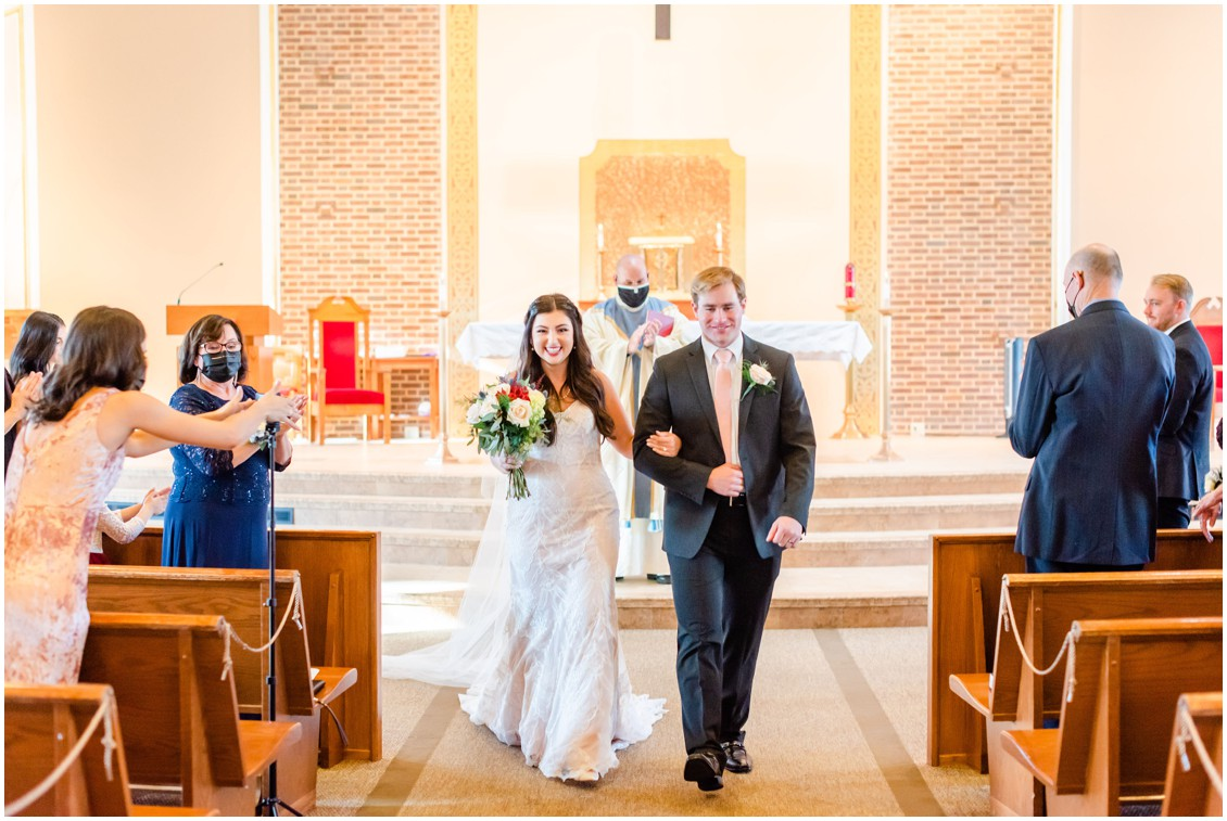 Bride and groom walking back down aisle together in church microwedding | Love will find a way| My Eastern Shore Wedding | Alexandra Kent Photography