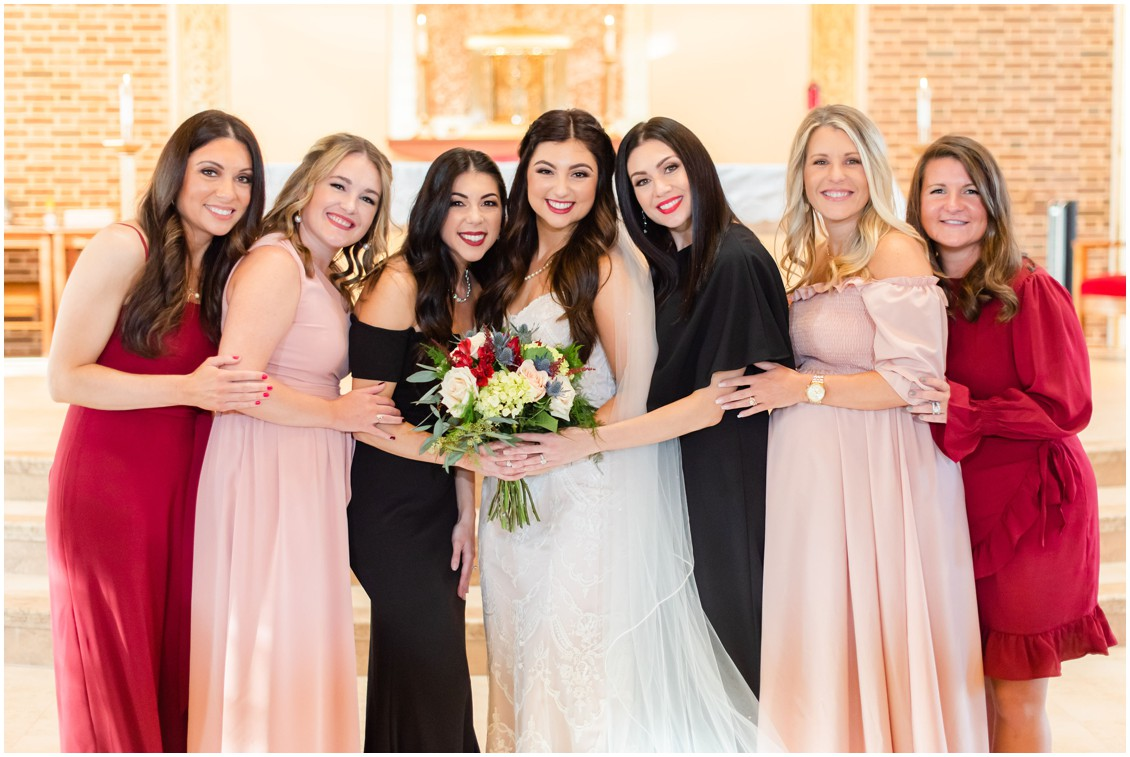 Bride and bridesmaids portrait in church microwedding | Love will find a way| My Eastern Shore Wedding | Alexandra Kent Photography
